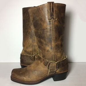 Frye 77300 Harness Brown Motorcycle Boot Size 8